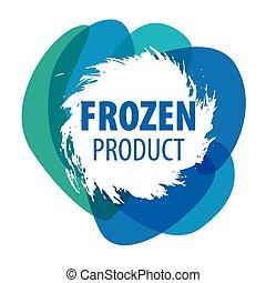 azul, congelado, vector, productos, logotipo