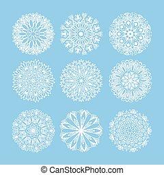azul, conjunto, aislado, copo de nieve, decoración, navidad