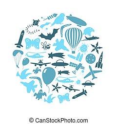 azul, conjunto, eps10, iconos, vuelo, símbolos, tema, círculo