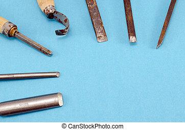 azul, Conjunto,  graver, cincel, esculpir, herramientas