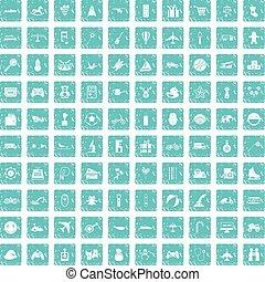 azul, conjunto, grunge, iconos, niños, juguetes, 100