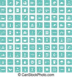 azul, conjunto, grunge, suministro, iconos, agua, 100