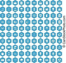 azul, conjunto, iconos, energía, solar, 100