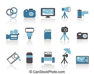 azul, conjunto, iconos, fotografía del color, elemento