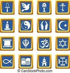 azul, conjunto, iconos, vector, religión, cuadrado