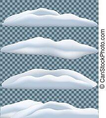 azul, conjunto, invierno, aislado, snowbank, fondo., vector...
