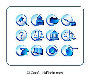 azul, conjunto, -, legal, icono