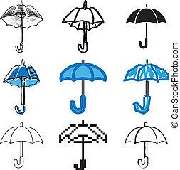 azul, conjunto, paraguas, iconos