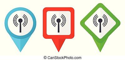 azul, conjunto, plano de fondo, colorido, indicadores, wifi, aislado, icons., edit., vector, verde, ubicación, fácil, rojo blanco, marcadores