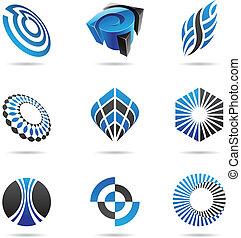 azul, conjunto, resumen, iconos, 3, vario