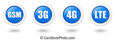 azul, conjunto, telecomunicación, 3g, lte, sombra, gsm, 4g, ...
