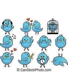 azul, conjunto, vector, pájaro, icono