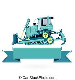 azul, constrói, grande, maquinaria, works., construção, white., estradas, cavador, chão