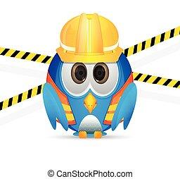 azul, construcción, pájaro, equipo, ingenio