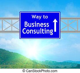 azul, consultar, negócio, sinal estrada
