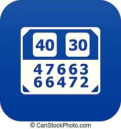 azul, contagem, vetorial, tábua, partida, ícone