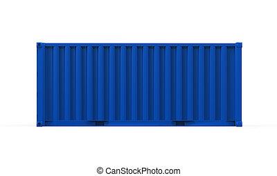 azul, contenedor, envío