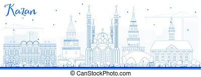 azul, contorno, contorno, kazan, edificios.