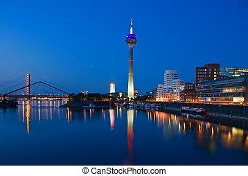 azul, contorno, dusseldorf, hora