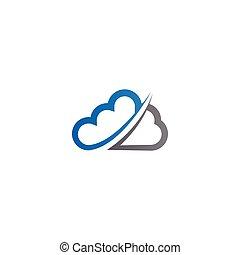 azul, contorno, vector, diseño, plantilla, logotipo, nube