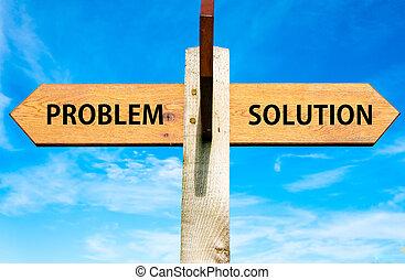 azul, contra, céu claro, oposta, madeira, signpost, sobre, problemas resolvendo, dois, solução, conceitual, mensagens, setas, problema, imagem