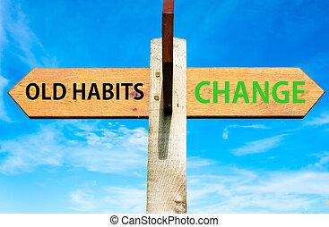 azul, contra, viejo, cielo, contrario, de madera, poste indicador, encima, flechas, dos, claro, hábitos, mensajes, conceptual, estilo de vida, imagen, cambio