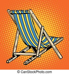 azul, convés, cadeira lounger, praia, listrado