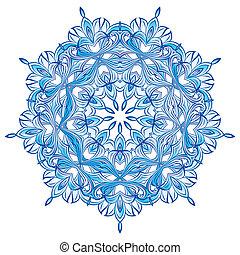 azul, copo de nieve