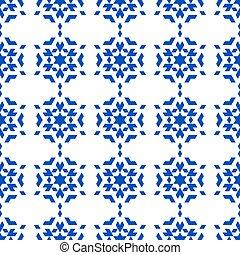 azul, copos de nieve, en, un, blanco, fondo.