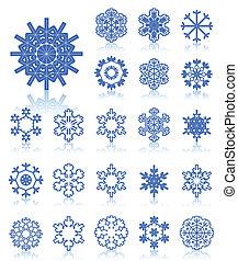 azul, copos de nieve, iconos, colour., colección, oscuridad, vector, ilustración