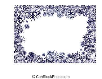 azul, copos de nieve, plano de fondo
