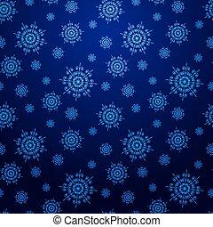 azul, copos de nieve, seamless, fondo oscuro, navidad