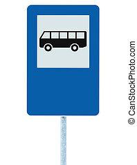 azul, copyspace, autobús, poste, parada, aislado, roadsign, señal, tráfico, signage, poste, camino