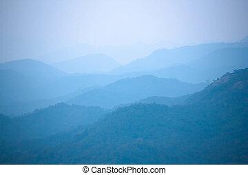 azul, cor, de, montanhas, durante, pôr do sol