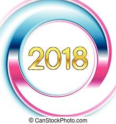 azul, cor-de-rosa, 2018, fundo, ano, novo, anel