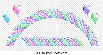 azul, cor-de-rosa, arch., objetos, balões, balloon, cores, vetorial, verde, delicado, fundo, violeta, guirlandas, linha, balloons., arco, transparente, set.