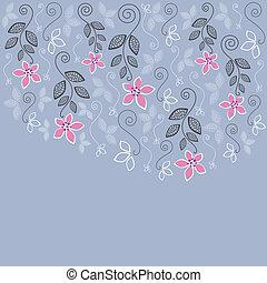 azul, cor-de-rosa, floral, cartão cumprimento