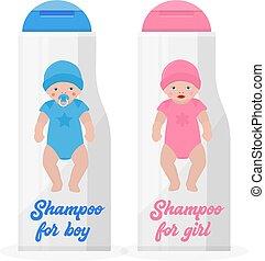 azul, cor-de-rosa, garrafas, illustration., menino, bandeira, bottlesnon, branca, shampoo, acessórios, plástico, experiência., vetorial, bath., levando, hat., bebê, hygiene., menina, roupa, crianças
