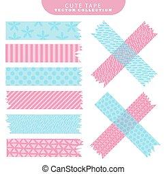 azul, cor-de-rosa, jogo, illustration., patterns., variante, washi, vetorial, fita