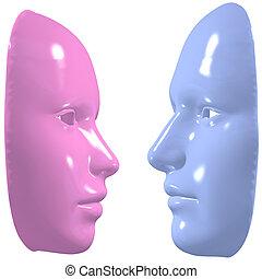 azul, cor-de-rosa, mulher, desligado, máscara, rosto, homem