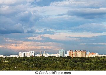 azul, cor-de-rosa, nuvens, cidade, sobre, céu