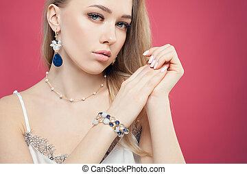 azul, cor-de-rosa, pedra, mulher, coloridos, corrente, pérolas, pulseira, brincos, moda, atraente, fundo, colar, retrato