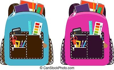 azul, cor-de-rosa, schoolbags
