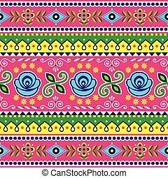 azul, cor-de-rosa, vetorial, arte, pakistani, abstratos, ornamento, seamless, padrão, formas, indianas, caminhão, marinha, flores, desenho