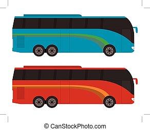 azul, cor, vermelho, single-decker, autocarro