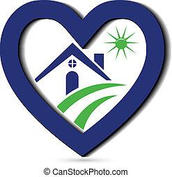 azul, coração, ícone, logotipo, casa