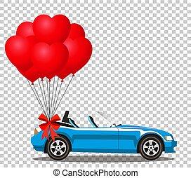 azul, coração, aberta, cabriolé, car, modernos, balões, caricatura