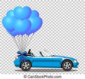 azul, coração, aberta, cabriolé, dado forma, car, balões, caricatura, grupo