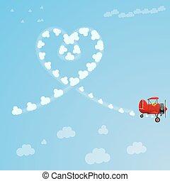 azul, coração amoldou, voando, céu, partindo, atrás de, vetorial, trail., retro, fumaça, avião