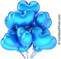 azul, coração, aniversário, balões, dado forma
